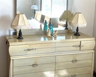 Mid-Century dresser with mirror and pair of lamps