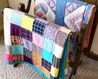 Quilt rack with handmade quilts