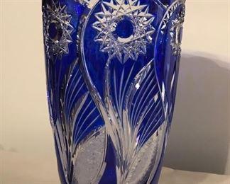 "SALE $55 Cased Crystal (Bohemian) Cobalt Vase 10"" tall 6"" wide at top (lip) $75"