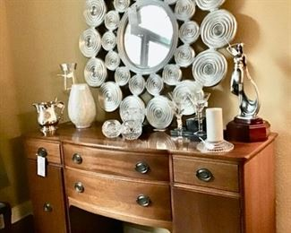 Really Cool Circle Mirror with Silver Frame, Buffet