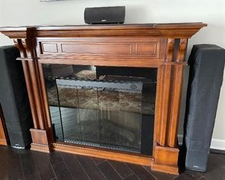 Wooden mantle with Firebox