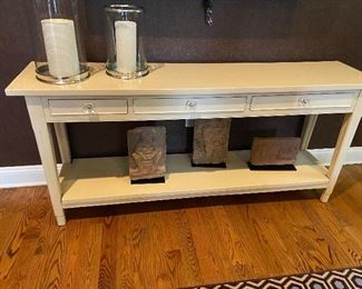Cream colored side board.  Or sofa table.   This is a perfect piece of furniture.  71.5 l x 17 wide x 32.5 high.   Reduction.  $200