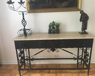 Antique Wrought iron console with travertine top from old church , heavy - $2250