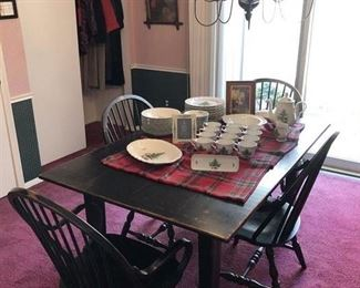 Beautiful Table w/4 chairs....one of 4 pieces of this distressed, black, primitive in styling..... Holiday Dishes