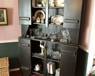 Glassware, Crystal and Painted....Beautiful Cabinet