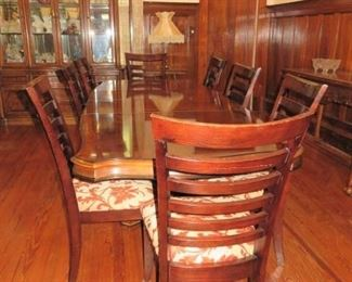 Bernhardt Cherry Wood Double Pedestal Dining Room Table Set/8 Chairs, China Hutch, Matching & Server