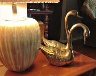 .Large solid Brass Swans with feathering