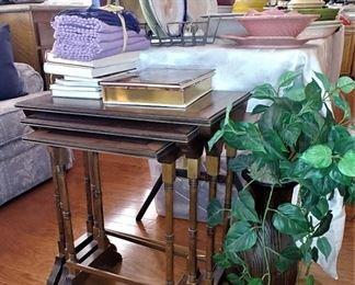 .Set of 3 Burlwood Nesting Tables