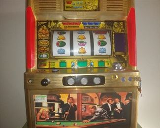 """""""Sammy"""" Full Size Slot Machine It Works. Has tokens, lights & Sound. Marilyn Monroe, Frank Sinatra, + Scene Will Not Be Included In Discount Days Offers"""
