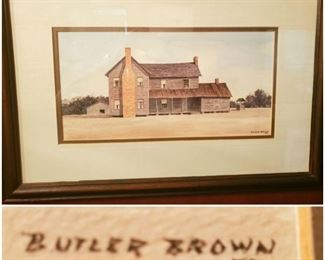 Butler Brown original watercolor. (Scarce because he usually worked in oils).