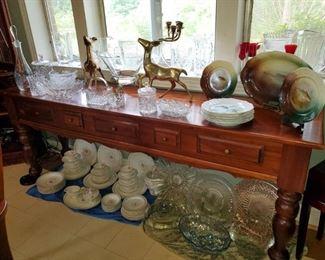 Sofa table, cut glass, crystal, pair of deer, Bavarian fish plates, & more.
