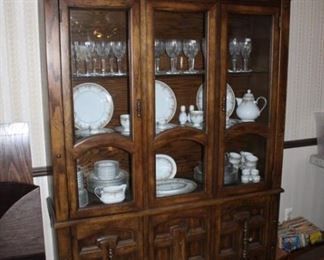 CHINA CABINET, WATERFORD STEMWARE, CHINA SET
