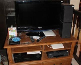 TV STAND, SMALL FLATSCREEN, WII, VHS