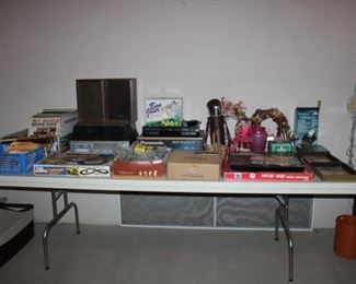 ALBUMS, TURNTABLE, BOARD GAMES, ETC