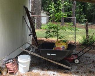 wheel barrel and mower