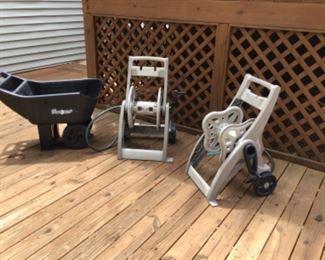 Hose reels and yard cart.