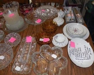 Variety of crystal bowls and platters.  Some Fostoria Americana.  Harmony House Japan Rosebud.