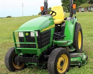 """John Deere 4410 eHydro Tractor With Roll Bar And Electronic OS, Hours Showing 64?.3, ID# LV4410H340051 Includes 72"""" 7-Iron Belly Mower #DE18613, Tractor Tire Size 11.2-24 R1"""