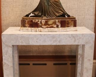 "After Chipparus ""Thais"" Bronze, laminated console table"