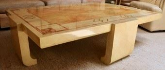 Hand painted wood coffee table by Baker