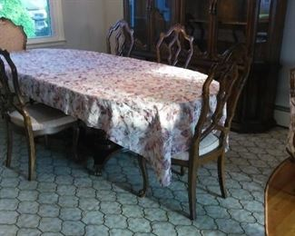 Finely Carved, American Hardwood French Ambassadors style Dining Room Table, Chairs and Magnetic China Cabinet, with Glass Shelves and Above Cabinet Lighting!  Oh My!!