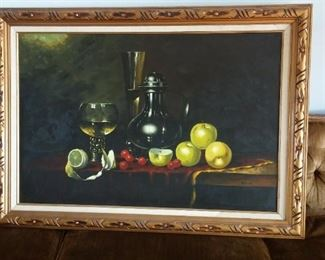 """Ooc, an original oil on canvas painting of a still life table setting in the Baroque Realistic Manner, ps:  it'll remind you to eat more Fruit and drink more Wine; isn't that what all the """"modern"""" Dr's are telling us to do!"""