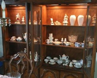 Finest Hand Carved Hardwood French Ambassadors style Lighted China Cabinet or Closet. Loaded with European & Asian Porcelains and Lenox and Crystal!