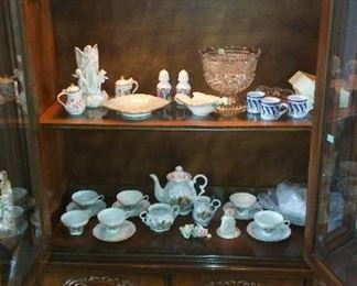 Glass, Crystal, Mother Mary & Baby Jesus Statue, Pair Of LENOX Orchid Vases, other Lenox Items, European Decorated Tea Set plus more.