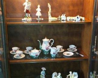 European Decorated DemiTasse Sets and Figurines.
