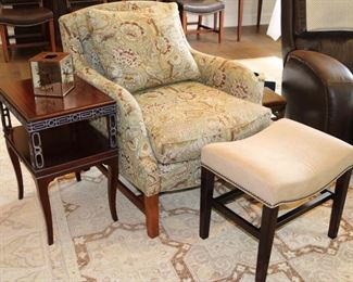 Hickory Chair Endtables and Custom upholstered chair