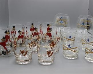 Vintage Printed Bar Glasses
