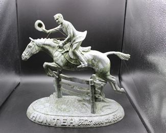Vintage Metal Hunter Whiskey Advertisement Statue