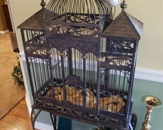 Wrought Iron Birdcage about 5ft tall 3ft wide 14 deep  $250
