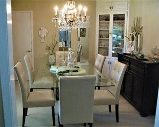 Extremely Nice Formal Dining Tabe with Tufted Leather Chairs