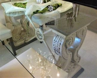 Extremely Nice Formal Dining Tabe - Tufted Leather Chairs - Beautiful Eye Catching Carved Base