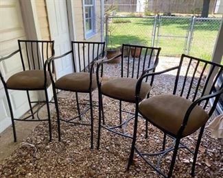 "4 Iron Barstools Measures 44"" tall to back, 30"" tall to seat, 39"" tall to arms x 18"" wide x 18"" deep. Some imperfections as shown in photos.  Good sturdy set."
