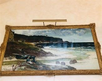 """Very large oil on canvas (71"""" x 35"""") signed Edwin Ellis. """"Edwin Ellis (1842–1895) was an English artist born in Nottingham, England. He started working life as a lace draughtsman. As an artist he was known for his dramatic paintings of the British coastline, particularly around Yorkshire, Wales and Cornwall. He painted mainly in oils in a broad, impressionistic style. He also painted in watercolour. He exhibited extensively at the Royal Society of British Artists (elected member in 1875), the Royal Academy and many other galleries in London and other UK cities. A major retrospective exhibition of his work was held at the Nottingham Museum and Art Gallery in 1893.''"""