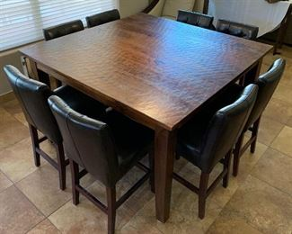 Hand Scraped Dining Table Pub Style w 8 Chairs