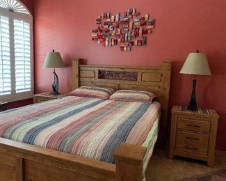 Ashley Rustic Queen Bedroom w 2ea 3-Drawer Nightstands, Queen Matt/BS, Artistic Table Lamps pr, Metal Wall Art