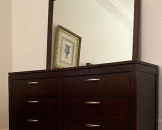 Queen Bedroom, Queen Matt/BS, Ashley Dresser w Mirror and 2 Nightstands, Art