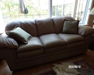cream/taupe leather sofa