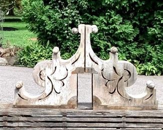 """Pair of gorgeous old corbels, all wood, original chippy white paint. This photo shows the two of them placed side by side together. Measure 24"""" x 19"""" x 8."""" $325 pair"""