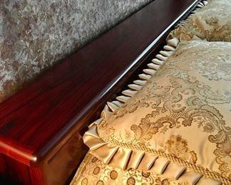 """$1,200-Teak Queen Bedroom Set. Bed-90""""L x 63""""W x 18""""H. Night Stands- 23""""W x 30""""H x 18""""D. Dresser 20""""D x 72""""W x 30""""H. Armoire 66""""H x 24""""D x 32""""W. Includes Mattress."""