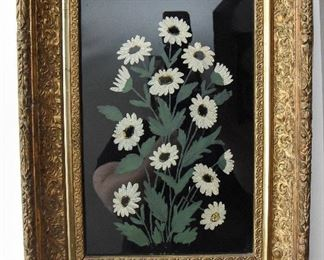 """Handpainted daisys on glass  $40 OD of frame: 12"""" x 16"""" x 2""""  Some loss of moulding on the frame in upper left corner as shown. No markings on back."""