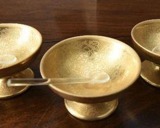 "Three Pickard gold flowers open salts $20 2"" diameter"