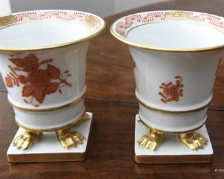 """PAIR Small Herend """"Chinese Bouquet"""" Footed Cachepots  $160 3"""" round at widest part of lip, 3"""" tall. Excllent condition."""