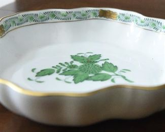 """Herend Green """"Chinese Bouquet"""" fluted edge bowl  $55 5.5"""" diameter,"""