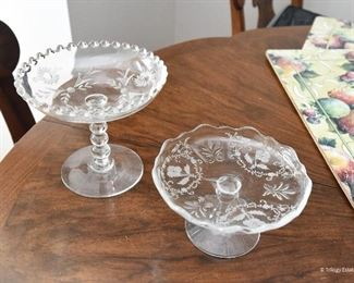 """Needle Etched footed compote  $22 4.25"""" round, 3"""" tall Etched flower / cut glass footed compote  $22 5.5 Diameter, 5"""" tall"""