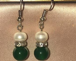 Pair of Faux Pearl and Green Stone Earrings $12