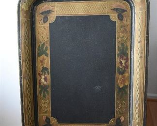 """Large Rectangular Metal Tray  $65 Tole Painted, some transfer. 26.5"""" x 20"""" Some paint loos on edges, consistent with age and wear."""
